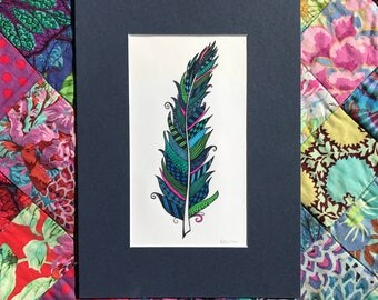 Stainedglass feather - blue