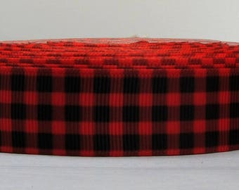 "2 Yards 7/8"" Christmas Holiday Red & Black Plaid Print Grosgrain Ribbon"