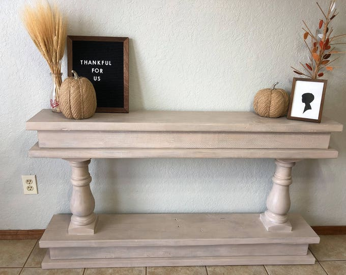 Farmhouse Sofa Table, Weathered Wood Finish, Hand Painted and Handmade Console Table
