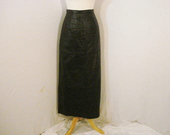 Long Black Leather Skirt Newport News Glam Chic Sophisticated M
