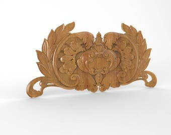 French Ornate Wood Carved Wall Applique Onlays, Wood Carving WALL ART, Decorative Wall Art,  Wood Wall Art, Unfinished 8 x 3.5 inches