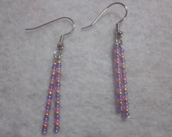 Pink Purple & Gold Earrings
