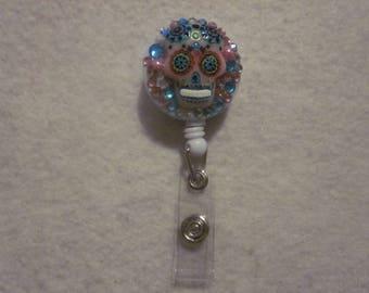 Pink Sugar Skull ID Badge Reel