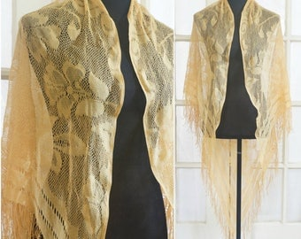 Vintage Long Gold Yellow Floral Shawl