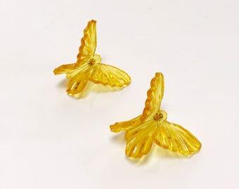 1980s yellow lucite butterfly earrings / 80s gold plastic earrings / 1980s statement pierced earrings  / 80s avant garde butterfly earrings