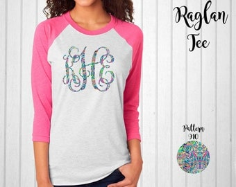 Monogram Shirt, Monogram Raglan Tee // Monogram T-Shirt in Pattern 910