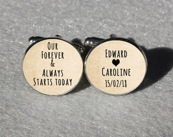 Our Forever & Always Start Today Wedding Cuff Links,Personalized Wedding Cuff Links for Bridegroom,Customized Characters Wedding Cufflinks