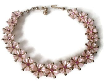Pink Choker Necklace Thermoset Plastic Rhinestone Flowers