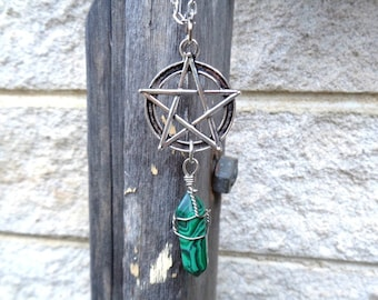 Silver Pentagram and Malachite Necklace, Pentagram Necklace, Gemstone and Pentacle Necklace, Protection Necklace,Wiccan Necklace,Pagan Charm