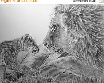 "20% off Lions, Male lion, Cub, Original Pencil Drawing, Animal Art, Home Decor 17""x 21"" African Art, Lions Drawing, Wildlife art, Father and"