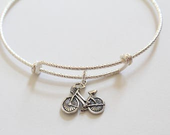 Sterling Silver Bracelet with Sterling Silver Bike Charm, Bike Bracelet, Bike Charm Bracelet, Bicycle Bracelet, Bicycle Charm Bracelet, Bike