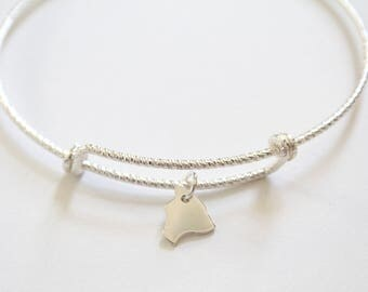 Sterling Silver Bracelet with Sterling Silver Hawaii Charm, Hawaii State Bracelet, Hawaii Bracelet, Hawaii Charm Bracelet, Hawaii Vacation