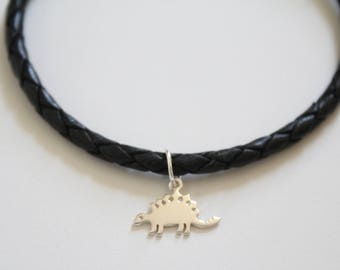 Leather Bracelet with Sterling Silver Stegosaurus Dinosaur Charm, Stegosaurus Bracelet, Dinosaur Bracelet, Dinosaur Charm Bracelet, Dino