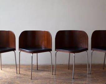 Mid Century Modern Set of (4) Curved Dining Chairs with Chrome Legs