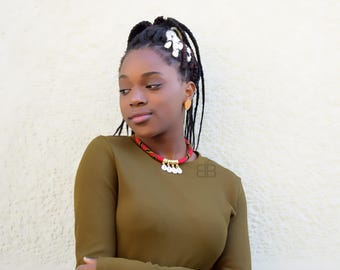 African Print Ankara Necklace Adorned with Gold & Shells