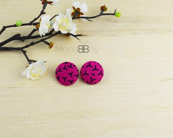 Pink & black african stud earrings, boucles d'oreilles ethniques, boucles d'oreilles en tissu wax, birthday gift idea, fabric jewelry