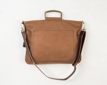 Leather crossbody bag, Medium brown soft leather purse, Shoulder bag in brown leather, school crossbody bag, messenger purse