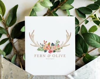 Premade Logo Design | Antler Logo | Deer Logo | Watercolor Flower Logo | Floral Logo | Rustic Photography Logo | Boutique Logo | PL-013