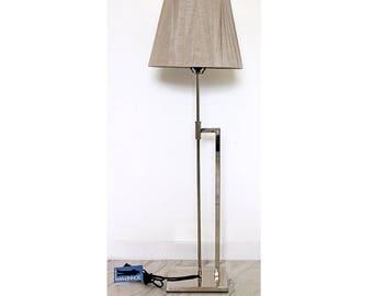 Mid Century Modern Robert Sonneman Chrome Floor Lamp Original Tag Shade & Finial