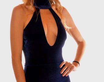 Velvet Halter Dress with Deep V