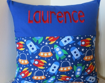 Personalised Rocket ship cushion cover/space ships/blue background