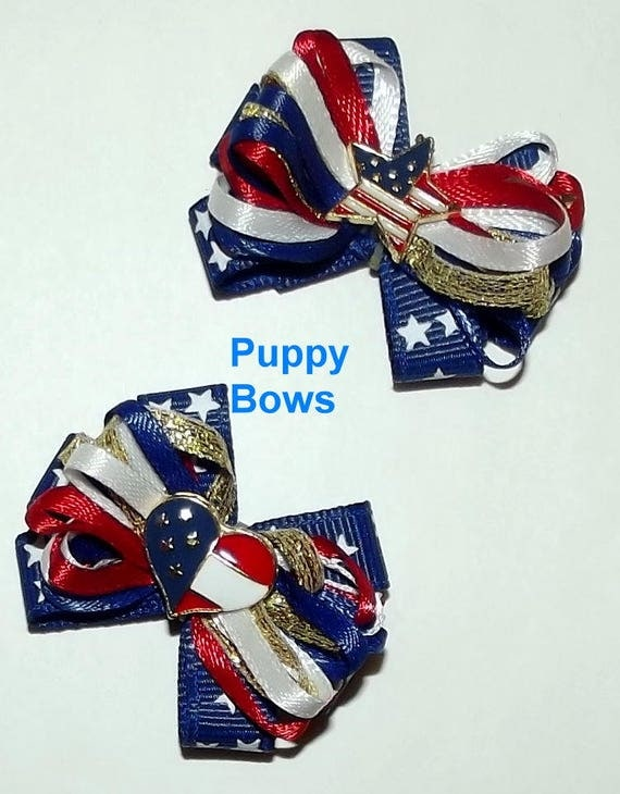 Puppy Bows ~ wild loop 4th July patriotic FLAG or STAR dog pet hair bow - USA made and sold