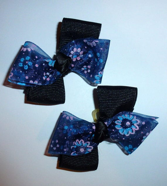 Puppy Bows ~ 6 purple black navy double loop  pet hair bow latex band ~Usa seller (fb92)