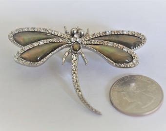 Vintage Dragonfly Brooch / Pin / Insect Brooch / Pin / Dragonfly Jewelry / Abalone Brooch / Pin / Dragonfly Items /