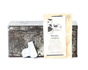 Antique printing plate, printing block, antique stamp, Netherlands, old advertising, pewter stamp