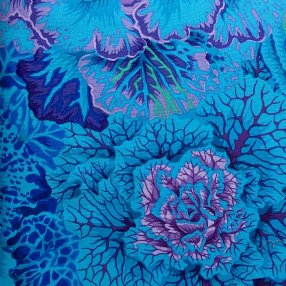 BRASSICA BLUE  PJ51 Philip Jacobs Kaffe Fassett Collectives Sold in 1/2 yd increments