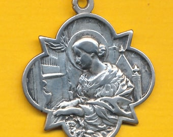Antique French silver Religious Medal St Cecily - St Cecile charm pendant catholic medal (ref 1030)