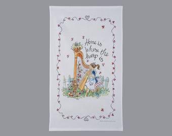 Harp motif tea towel, music gift, gift for musician, harp gift, gift for harpist, house warming gift,  gift for music teacher,