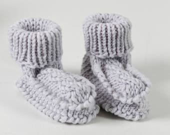 Hand knitted baby boots
