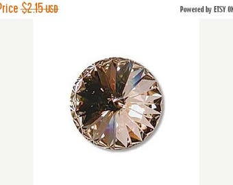 Summer Sale LIGHT PEACH Swarovski Rivoli Crystal Elements 12mm Qty 2 Foiled Undrilled Swarovski Stones