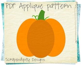 Pumpkin Applique Template - Fall Applique Pattern / Fall Quilt Pattern / Girls Pumpkin Dress / Halloween Wall Hanging / Kids Holiday AP308-D