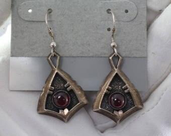 Vintage Modernist J ALLEN Red Garnet Sterling Silver 925 Dangle earrings