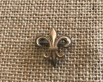 Vtg 1940's Gold Filled Fleur De Lis Pin/ Pendant