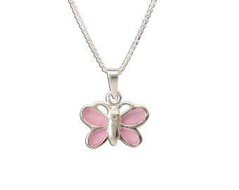 Girls Sterling Silver Pink Butterfly Charm Necklace with Gift Box  (BCN-Butterfly Pink)