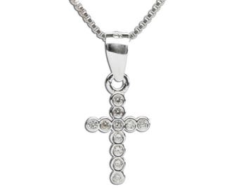 Sterling Silver Cross Charm Necklace with CZs for First Communion, Confirmation or Girls Gift (BCN-Cross CZ)