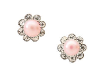 Sterling Silver Pink Pearl Button Earrings for Girls with Screw Backs (SSE-Pearl Button-Pink)