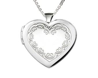 Sterling Silver Embellished Locket Charm Necklace with Gift Box  (BCN-Locket-Embellished)