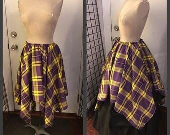 tartan pixie skirt elven Sera skirt punk renaissance fits med thru xxl ready to ship purple yellow