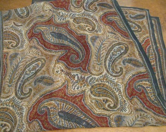 Fab Vintage Paisley Long Scarf 100% Silk Greys Taupes Reds
