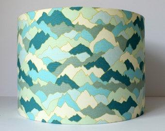Mountain Lampshade, Mountain Home Decor, Neutral Nursery Decor, Blue Lampshade, Modern Lamp Shade, Mountain Nursery Lamp, Woodland Nursery