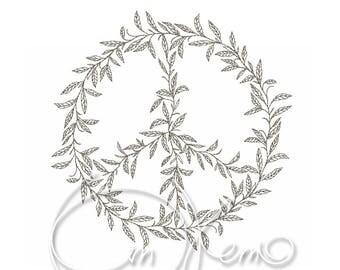 MACHINE EMBROIDERY DESIGN - Peace emblem, Pacific symbol