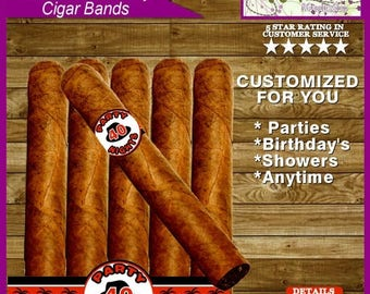 Cigar Labels, Cigar Bands Any Occasion Inspired Printable Celebratory Digital File - Personalized for You!
