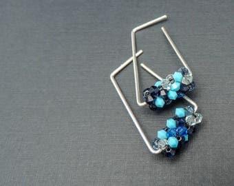 Modern Blue And Silver Dangle Earrings, Modern Geometric Hoops, Modern Blue And Sterling Silver Earrings, Blue Geometric Earrings, Handmade