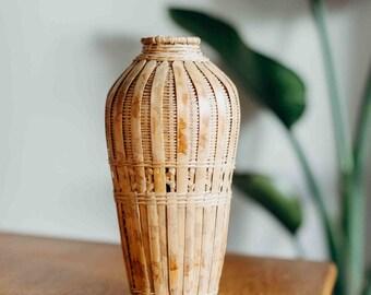vintage handmade handwoven rattan wicker vase