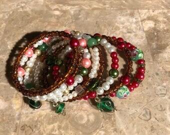 Green pink brown wrap bracelet
