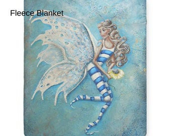 Fleece fairy blanket, art sherpa fairy throw, soft fairy blanket, Nancy Quiaoit